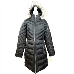 NWT Michael Kors Black Hooded Quilted Puffer Coat